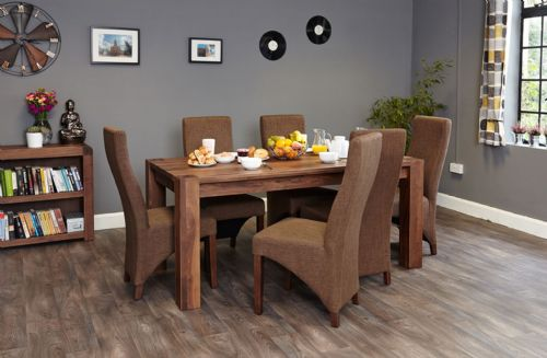 Shiro Walnut Large Dining Table and Chair Sets